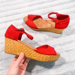 TOMS Embossed Red Suede Platform Wedge Sandals 8.5